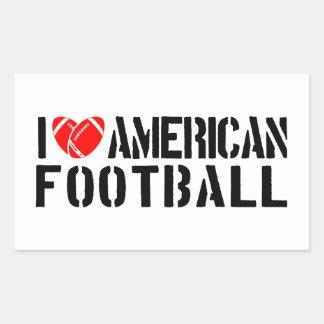 I Love American Football Rectangular Sticker