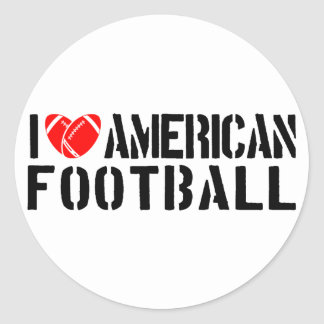 I Love American Football Round Sticker