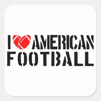 I Love American Football Square Sticker