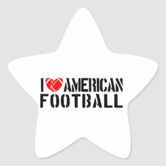 I Love American Football Star Sticker