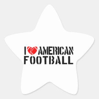 I Love American Football Star Sticker