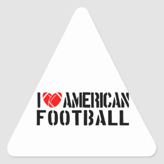 I Love American Football Triangle Stickers