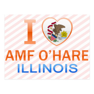 I Love AMF O Hare IL Post Cards