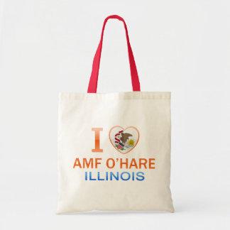 I Love AMF O'Hare, IL Canvas Bags