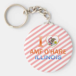 I Love AMF O'Hare, IL Key Chains