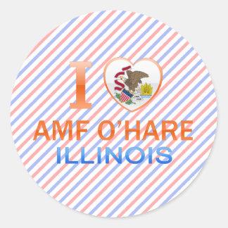 I Love AMF O'Hare, IL Round Sticker