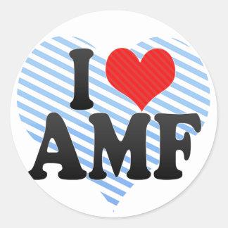 I Love AMF Round Sticker
