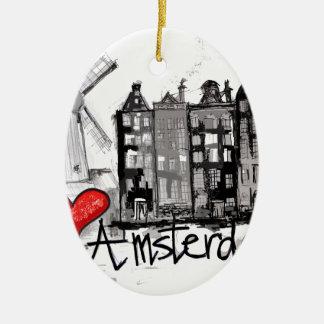 I love Amsterdam Christmas Ornament