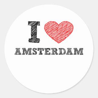 I Love Amsterdam Classic Round Sticker