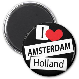 I Love Amsterdam Holland 6 Cm Round Magnet