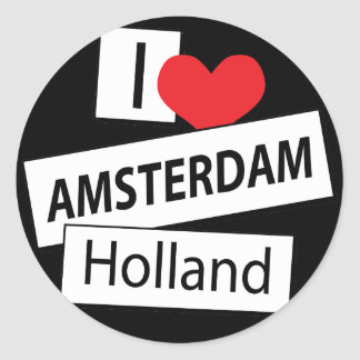 I Love Amsterdam Holland Classic Round Sticker