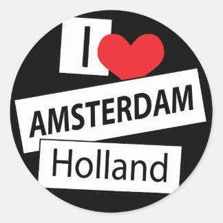 I Love Amsterdam Holland Round Sticker