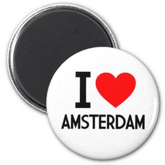 I Love Amsterdam 6 Cm Round Magnet
