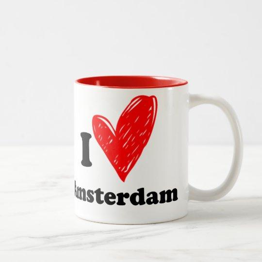 I love Amsterdam Two-Tone Coffee Mug
