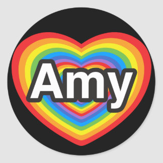 I love Amy I love you Amy Heart Stickers