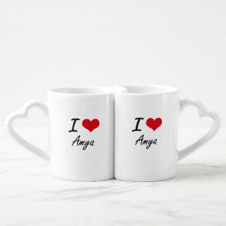 I Love Amya artistic design Lovers Mug