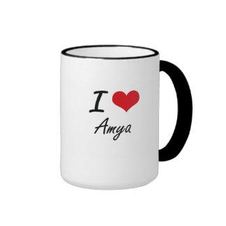 I Love Amya artistic design Ringer Mug