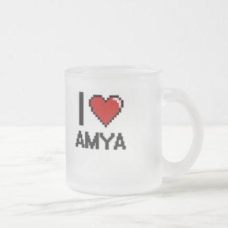 I Love Amya Digital Retro Design Frosted Glass Mug