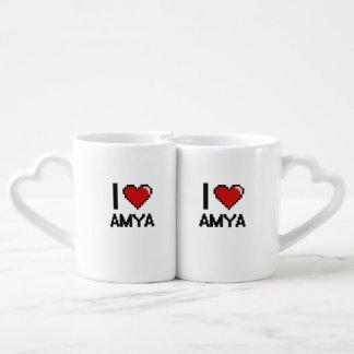 I Love Amya Digital Retro Design Couple Mugs