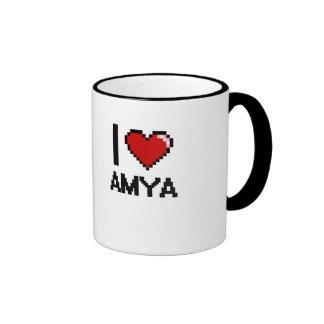 I Love Amya Digital Retro Design Ringer Coffee Mug