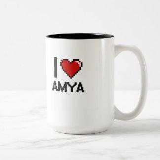 I Love Amya Digital Retro Design Two-Tone Mug