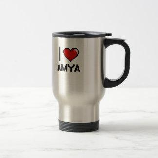 I Love Amya Digital Retro Design 15 Oz Stainless Steel Travel Mug