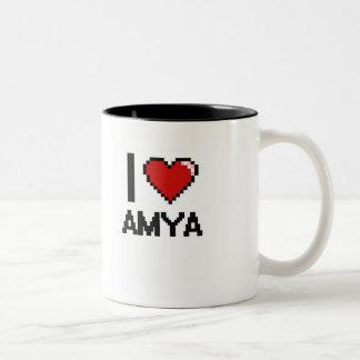 I Love Amya Digital Retro Design Two-Tone Coffee Mug