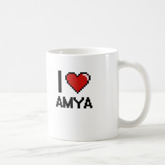 I Love Amya Digital Retro Design Basic White Mug