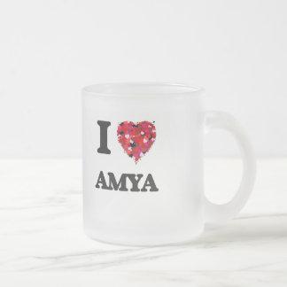 I Love Amya Frosted Glass Mug
