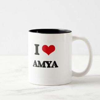 I Love Amya Two-Tone Mug