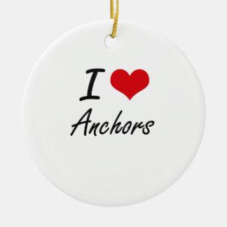 I Love Anchors Artistic Design Christmas Ornament