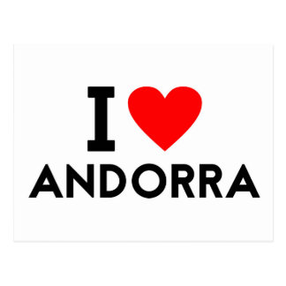 i love Andorra country nation heart symbol text Postcard