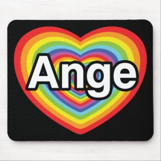 I love Ange, rainbow heart Mouse Pad