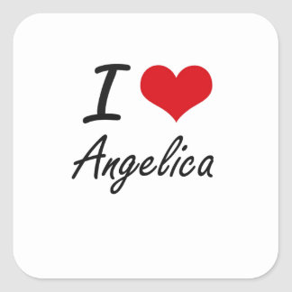 I Love Angelica artistic design Square Sticker