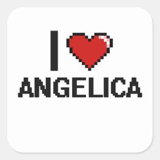 I Love Angelica Digital Retro Design Square Sticker