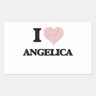 I love Angelica (heart made from words) design Rectangular Sticker