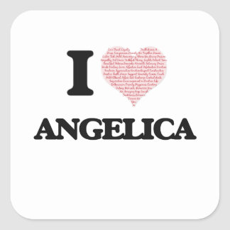 I love Angelica (heart made from words) design Square Sticker