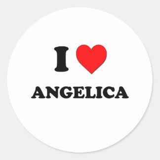 I Love Angelica Round Stickers