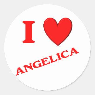 I Love Angelica Round Sticker