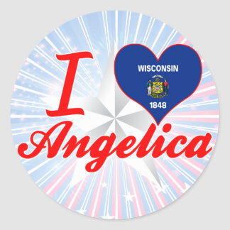 I Love Angelica Wisconsin Round Stickers