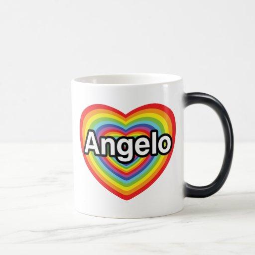 I love Angelo, rainbow heart Coffee Mug