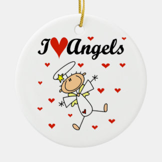 I Love Angels T-shirts and Gifts Round Ceramic Decoration