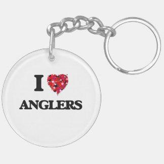 I Love Anglers Double-Sided Round Acrylic Key Ring