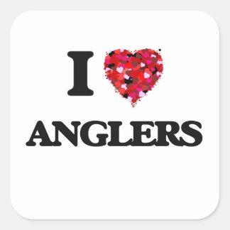 I Love Anglers Square Sticker