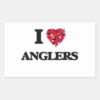 I Love Anglers Rectangular Sticker
