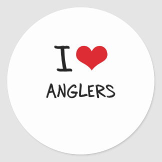 I Love Anglers Round Stickers
