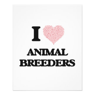 I love Animal Breeders (Heart made from words) 11.5 Cm X 14 Cm Flyer