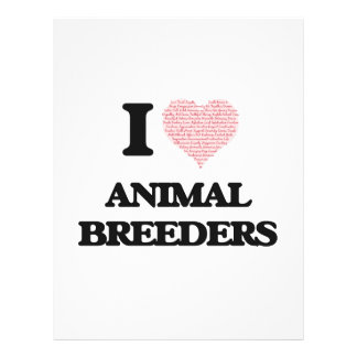 I love Animal Breeders (Heart made from words) 21.5 Cm X 28 Cm Flyer
