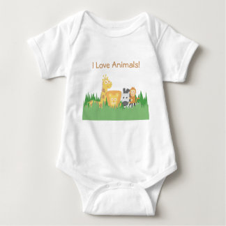 I Love Animals, Cute and Colourful, for Kids Baby Bodysuit