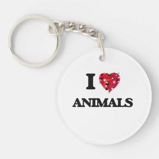 I Love Animals Single-Sided Round Acrylic Key Ring